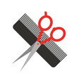 barbershop comb with scissor isolated icon vector image
