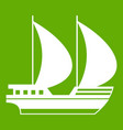 big yacht icon green vector image vector image