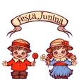 Brazilian Festa Junina Party girl and boy with vector image vector image