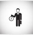 businessman with clock on white background vector image vector image
