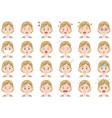 businesswoman various expressions set vector image vector image