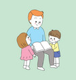 cartoon cute daddy and baby reading vector image