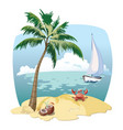 cartoon island in the sea with a yacht vector image vector image