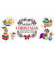 cartoon poster merry christmas and new year vector image vector image