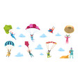 cartoon skydivers sky jump with parachute and vector image