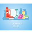 Cleaning tools set Detergents for cleaning home or vector image vector image