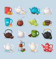 colorful tea icons set vector image vector image