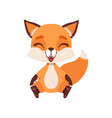 cute happy fox character sitting on the floor vector image