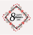 diamond emblem with flowers plants to womens day vector image vector image