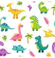 dinosaur seamless pattern cartoon cute baby dino vector image vector image