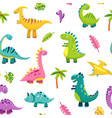dinosaur seamless pattern cartoon cute badino vector image vector image