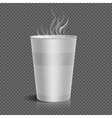 Disposable takeaway paper coffee cup with steam vector image