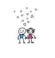 doodle boy and girl love vector image
