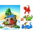 dragon at tower vector image vector image