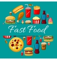 Fast food meal icons for emblem design vector image vector image