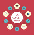 flat icons identification desk light phone and vector image vector image