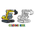 funny small excavator with eyes coloring book vector image