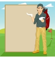 golfer showing something on blank board vector image