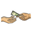 hand gives dollar money sketch engraving vector image