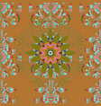 Hand painted mandala colored on brown green and