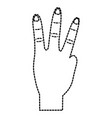 hand showing three fingers gesture vector image