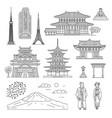 japan line art set - oriental architecture people vector image vector image
