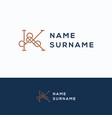 k name surname logo vector image