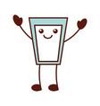 kawaii glass cup milk cartoon icon vector image vector image