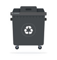 large black trash can on wheels flat isolated vector image vector image