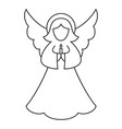line art black and white christmas angel vector image
