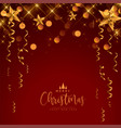 merry christmas festival celebration red and gold vector image