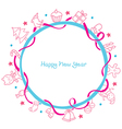 New Year Decoration Outline Icons Circle Frame vector image vector image