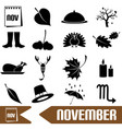 november month theme set of simple icons eps10 vector image vector image