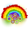 rainbow and circles vector image vector image
