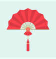 red chinese folding handheld fan vector image