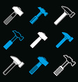 Repair instruments collection 3d tools mallets vector image