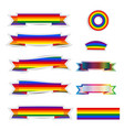 set of rainbow ribbon stickers vector image vector image
