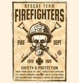 skull in gas mask and firefighter helmet poster vector image