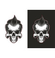 skull with hair vector image