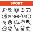 sports games equipment linear icons set vector image