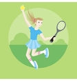 Sporty girl tennis player with racket vector image vector image