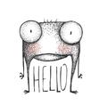 Strange hand drawn creature greeting vector image vector image