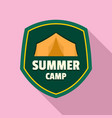 summer camp tent logo flat style vector image vector image