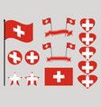 switzerland flag set collection of symbols heart vector image