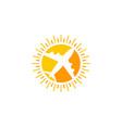 travel sun logo icon design vector image vector image