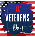 veterans day card usa blue brush paint banner vector image vector image