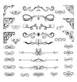 vintage calligraphic borders floral dividers vector image