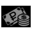 white halftone rouble and dollar cash icon vector image