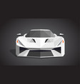 white sport car on grey background - polygonal vector image