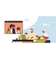 woman with child having virtual meeting vector image vector image